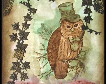 Owl card, Steam punk owl card, Friend card, Arty card, frameable card, Frameable art