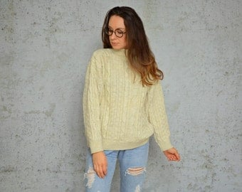 Fisherman sweater turtle neck cream chunky pullover 80s Cream Cable Knit turtle neck M - L size