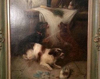 Antique Oil on Canvas Painting-Terriers / Dogs, George Armfield