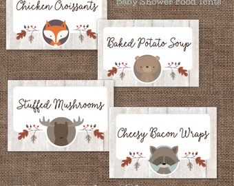 Woodland Animals Baby Shower Food Tent Cards