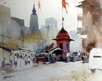 """Original Landscape, Suggestive Abstract Watercolor Painting, Size 12"""" x 16"""", Title: Banaras 4"""