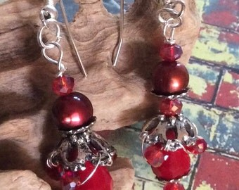Red Freshwater pearl drop earring with Swarovski red crystals