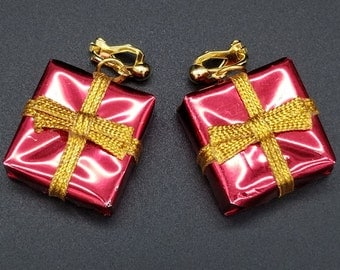 Vintage Red and Gold Christmas Package Clip On Earrings