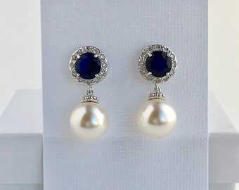Sapphire Bridal Earrings Blue Crystal Halo Earrings Wedding Cubic Zirconia Earrings Blue Crystal Earrings Bridal Swarovski Pearl Earrings