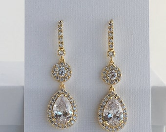 Gold Cubic Zirconia Earrings Gold Bridal Earrings Wedding Gold Jewelry Teardrop Halo Gold Crystal Earrings Bridesmaid Gold Drop Earrings