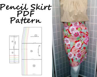 Women's Skirt Pattern PDF for Stretch Pencil Skirt, stretch knits, rockabilly, pinup sewing pattern digital download Sizes S, M, L, XL, XXL