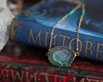 Druzy Necklace, Boho Druzy Necklace, Green Agate Necklace, Green Druzy Agate Necklace, Boho Luxe, Long Boho Necklace Boho Statement Necklace