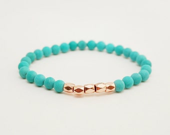 Rose gold bracelet, Pink gold bracelet, rose gold jewelry, Turquoise stone bracelet, skinny bracelet, stacking bracelet, gifts under 20