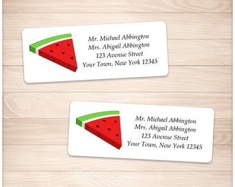 "Printable Watermelon Address Labels - Summer Watermelon Slice DIY Personalized 2 5/8"" x 1"" Address Labels - Editable PDF - Instant Download"