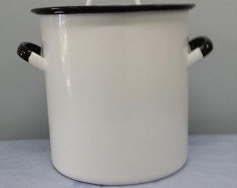 Vintage Porcelain Enamelware -  Extra Large Stock Pot - Antique Kitchen Item