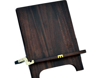 The Mobiport. Hand-Made, Foldable Portable SOLID Teak Wood Stand and Holder for Mobile Devices (24k gold gilded Cross)