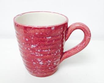 Hand glazed ridge mug - strawberry