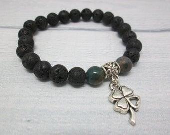 Boho jewelry Charm bracelet Healing bracelet Good luck jewelry Irish gifts Irish jewelry Leaf bracelet Clover jewelry Lava bracelet Nature