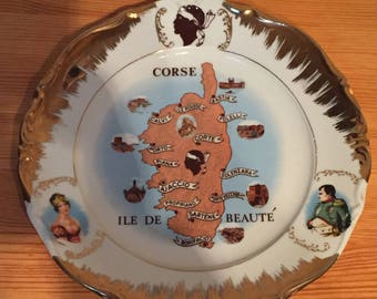A Very Collectable Stamped Porcelain PLate, Depicting the Island of Corsica & Napoleon Bonaparte