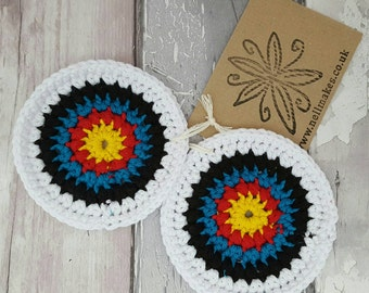 Archery target coasters, crochet coaster, fun drinks mat, cocktail napkin, archery secret santa
