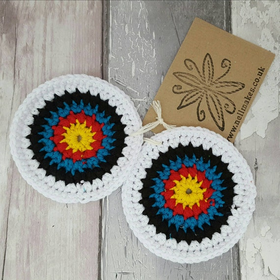 Archery Target Coasters Crochet Coaster Fun Drinks Mat