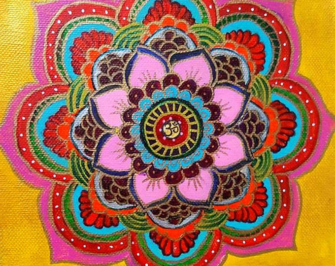Limited Edition - Prosperity Golden Mandala art, 8x8 inch,Colorful, Reiki energized, Hand painted, Wall decor,gift.