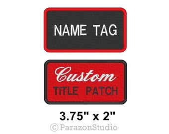 """Custom Embroidered Name Tag Sew on Patch Motorcycle Biker Badge 3.75"""" x 2"""" (A)"""