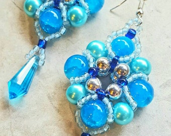 Beautiful Blue Crystal and glass beaded earrings