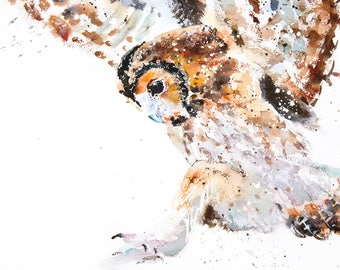 """Owl Painting """"Tawny"""" - Limited Edition Mounted Giclee Watercolour print 46.5 x 61.5cm from an original watercolour by Karen Thomas"""