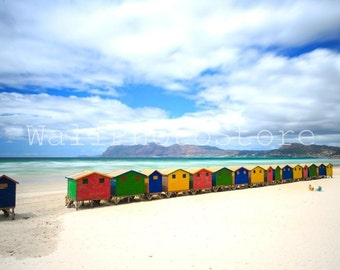 Beach Photography, Colorful Beach Huts - Muizenberg Beach, Cape Town, South Africa, Fine Art Photography, Print Photography, Wall Art