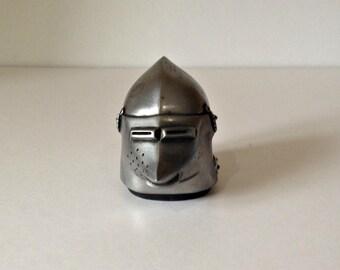 Tudor Helmet Paperweight, Pewter Helmet Paperweight, Tudor Armour Helmet, Pewter Paperweight, Desk Paperweight, Vintage Paperweight Ornament