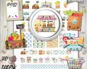 Grocery Stickers, Planner Stickers, Groceries Planner Stickers, Kawaii Stickers, Groceries, Shop Stickers, Planner Accessories, Printable