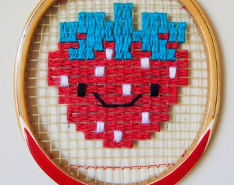 Kawaii Strawberry Woven Vintage Racquet