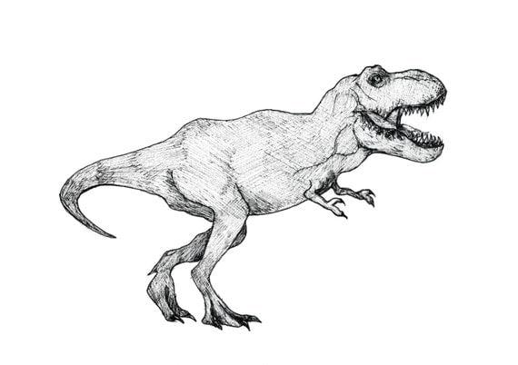 T-Rex Illustration Mini-Print