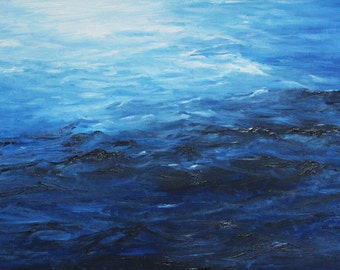 Original Artwork Vibrant Blue Painting Seascape Oil Painting Blue Canvas Large abstract painting Close Up OOAK orizontal Canvas unique piece