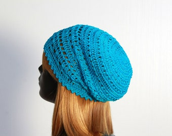Boho spring/summer hat, crochet beanie, turquoise, women, girls, teens, 100% cotton