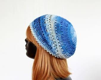 Denim crochet summer hat, women, teens, girls, 100%cotton
