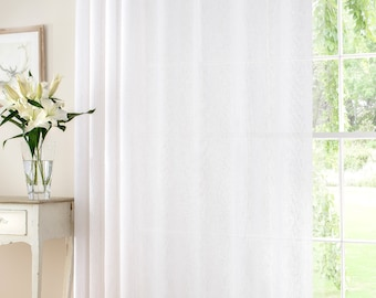 Custom Made  Soft White LINEN RICH  Curtain Panel Extra Wide Extra Long ***All  Sizes are available ***