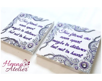 Hand made personalised canvas 20 x 20cm best friend quote henna designed pattern