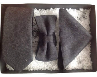 Matching Necktie, Bow Tie and Pocket Square 'Club Man' Trio Set - 100% Wool