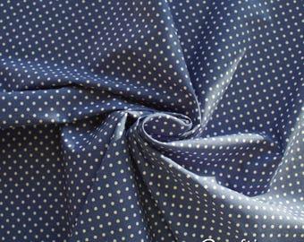 Polka Dot 100% Cotton Fabric - Copen Blue - Dressmaking Quilting Patchwork - Uk Seller
