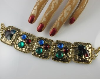 Vintage bracelet givenchy chanel style HAUTE COUTURE 1980s multi coloured cabochon retro toggle clasp - vintage birthday present gift