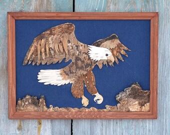 Eagle wall art, Eagle wall decor, Eagle decor, Eagle kitchen decor, Eagle art, Bark art, Bark decor,  Nature decor, Rustic decor.