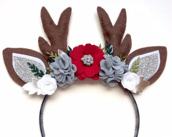 Christmas Reindeer Antlers and Ears Headband - glitter silver, white, marble gray and red with green leaves - holiday
