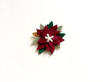 Mini burgundy poinsettia with gold and evergreen leaves - alligator clip - headband - Christmas - Holiday