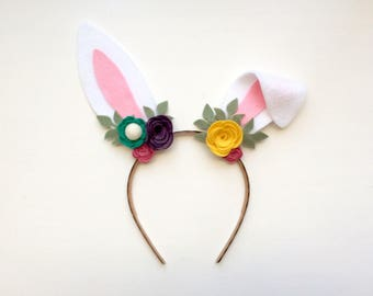 Felt bunny rabbit ear headband - teal, rose, purple, yellow flowers with green leaves