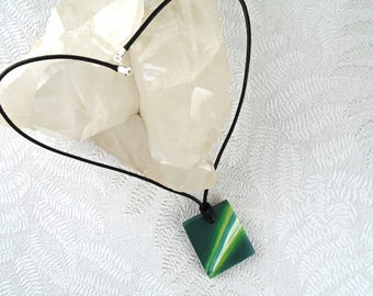 Green wooden pendant - Modern square pendant - Simple stripy necklace - Boho jewellery - Contemporary necklace - Bright painted necklace