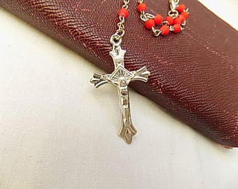 Coral Coloured Plastic Rosary with Silver Coloured Crucifix and Chain. Vibrant Necklace.  Religious Jewellery.