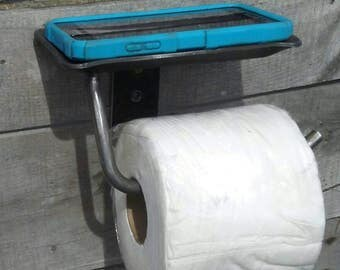 Hand forged toilet paper holder with cell phone tray