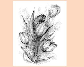Tulip flower drawing, floral original art, black white tulip sketch, botanical artwork, garden flower picture, botanical sketch