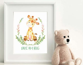 Animal Nursery Decor Boy Nursery Print Animal Nursery Decor Baby Girl Nursery Wall Decor Giraffe Print Kids Room Wall Decor Cute Nursery