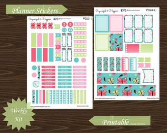 Weekly Personal Sticker Kit Butterfly Spring Flower Erin Condren Planner Printable Instant Download PDF #P023