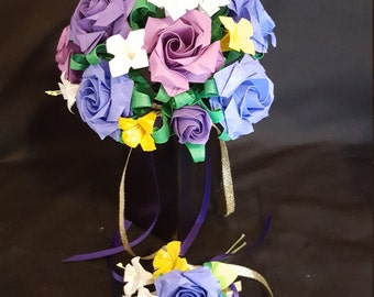 Wedding bouquet Origami roses and small flowers with a blue butterfly