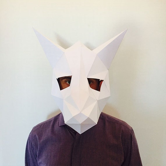 Make Your Fox Mask From Paper Pdf Pattern Mask Polygon