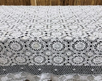 Crochet Tablecloth. Lace Tablecloth. Large Vintage Chunky Cotton Lace Tablecloth. White Oblong Crocheted Tablecloth or Bedspread RBT1614